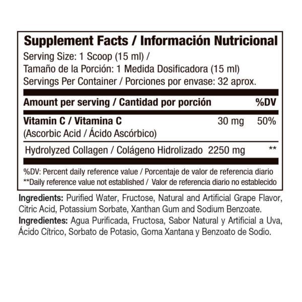 Colágeno Hidrolizado Biocollagen Uva x 16 Onzas 2