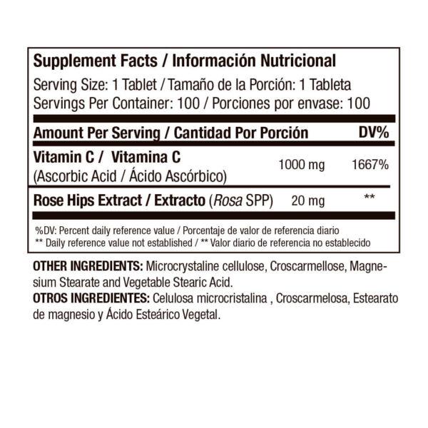 Vitamina C Medical Green con Rose Hips en Concentración x 100 Cápsulas 2