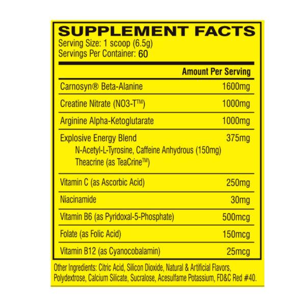 Pre-Entreno Cellucor C-4 - 60 Servicios x 180 gr. Tabla Nutricional